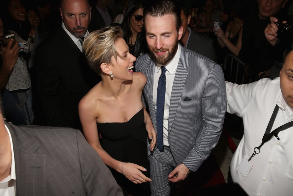 Pictured: Scarlett Johansson and Chris Evans