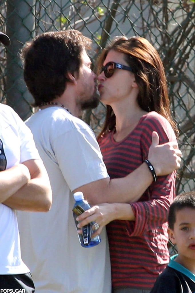 In November, Mark Wahlberg and Rhea Durham showed PDA at a flag football game in LA.