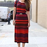 Bold-hued stripes and coordinating footwear have the notice-me factor.