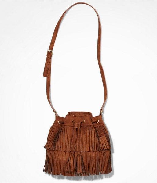 Express Fringed Drawstring Bag