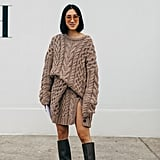 Balance a Slitted Knit With Knee-High Boots, So You're Not Showing Too Much Skin