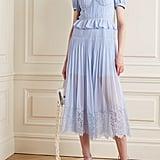 Self-Portrait Corded Lace-Trimmed Plissé-Chiffon Midi Dress