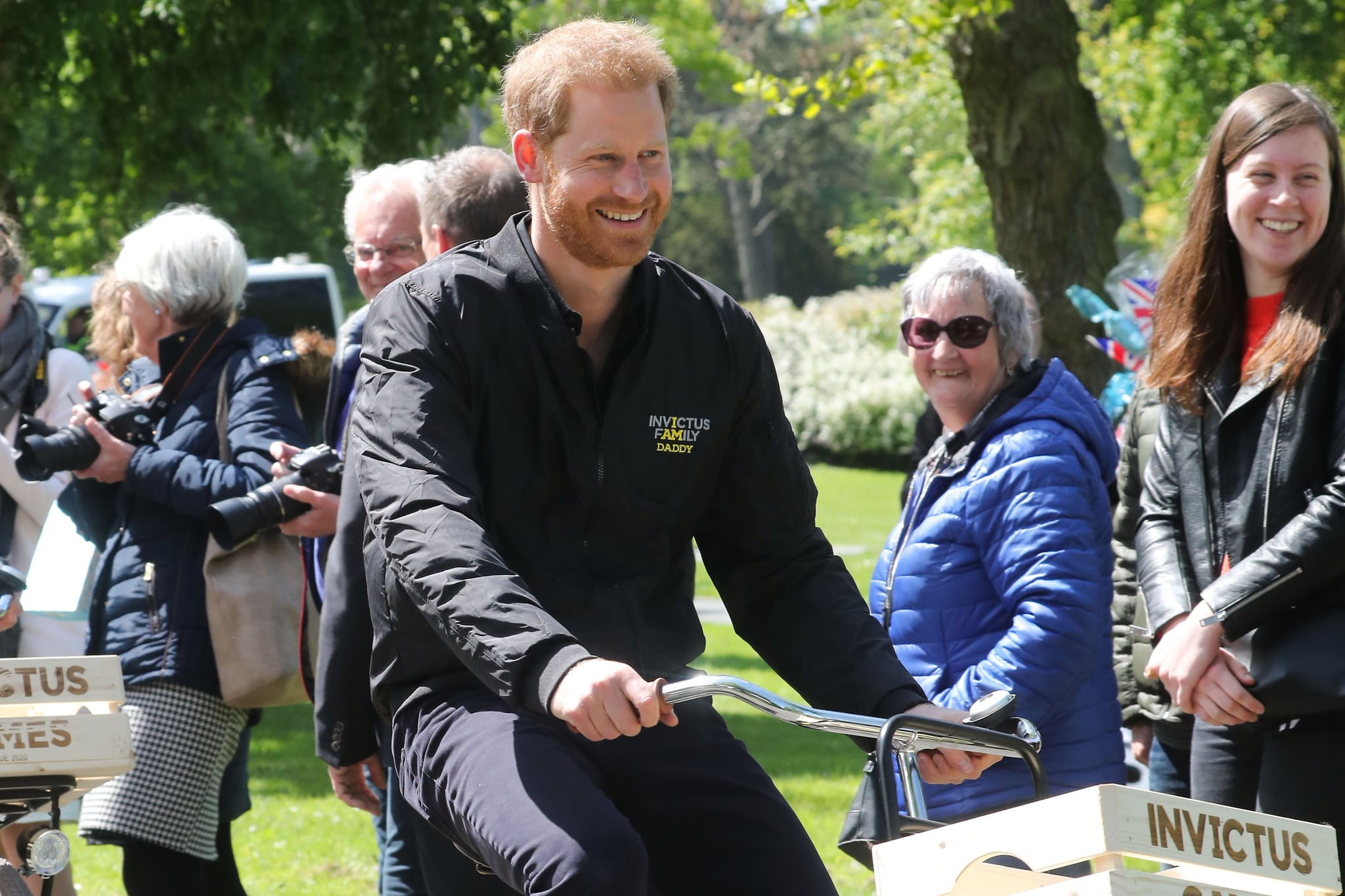THE HAGUE, NETHERLANDS - MAY 09: Prince Harry, Duke of Sussex mounts a bike for the next part of the tour at Sportcampus Zuiderpark during a visit to The Hague as part of a programme of events to mark the official launch of the Invictus Games. HRH will spend time meeting potential competitors and their families, joining the Netherlands in celebrating what an exciting event The Hague 2020 will be. Prince Harry, Duke of Sussex founded the games in 2014 in which wounded veterans compete in an array of sporting events on May 09, 2019 in The Hague, Netherlands. (Photo by Chris Jackson/Getty Images)