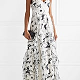 Alice + Olivia Jayda Lace Trimmed Ruffled Floral Print Silk Crepe de Chine Maxi Dress