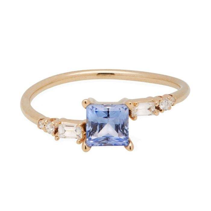 One of a Kind Blue Princess Crossover Ring