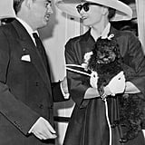 Grace Kelly and her poodle Oliver arrive in Monaco from the US by boat a few days before the wedding.