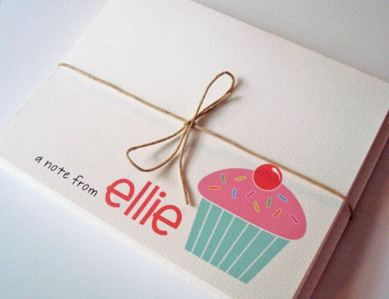 Your little sweetie will love these custom cupcake notecards ($12 for a set of 10).
