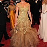 Leighton Meester in golden Marchesa.