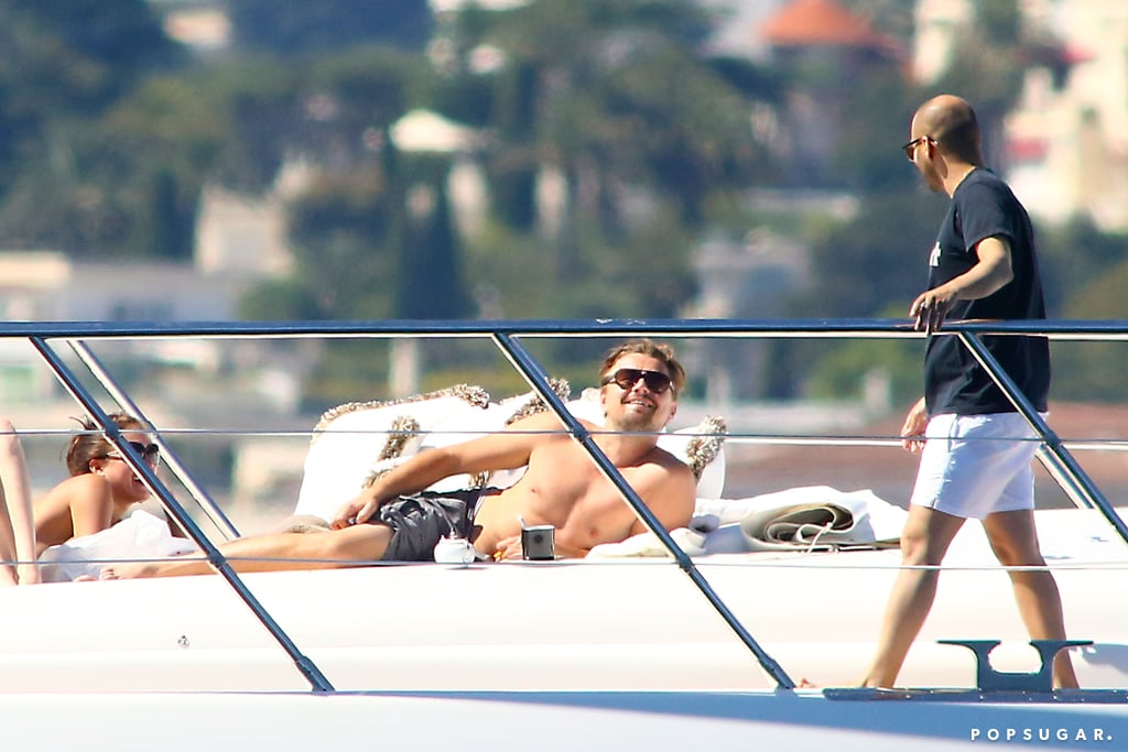 Leonardo DiCaprio went shirtless to lounge on Philip Green's luxury yacht in the South of France during the Cannes Film Festival.