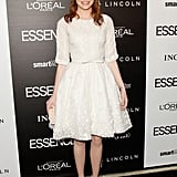 Emma Stone opted for a sweet white embroidered frock from Elie Saab paired with nude Brian Atwood pumps and a Ferragamo clutch at the 5th annual Essence Black Women in Hollywood luncheon. Shop some equally girlie, Cinderella-eque pieces here.