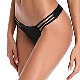 Relleciga Women's Triple Strappy Black Bikini Bottoms