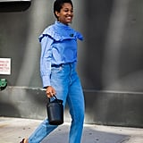 Tamu McPherson's ruffled blouse is the perfect way to dress up denim.