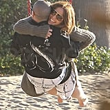 Jennifer Lopez and Casper Smart hugged.