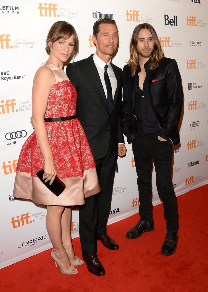 Matthew McConaughey stopped for photos with Dallas Buyers Club costars Jennifer Garner and Jared Leto.