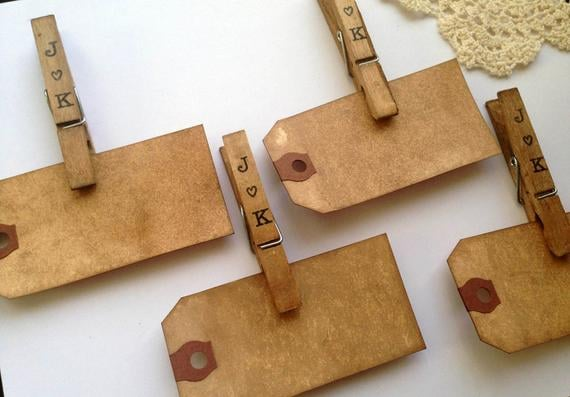 Personalized Place Card Clothespins and Tags
