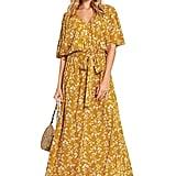 Milumia Boho Split Tie-Waist Vintage Print Maxi Dress