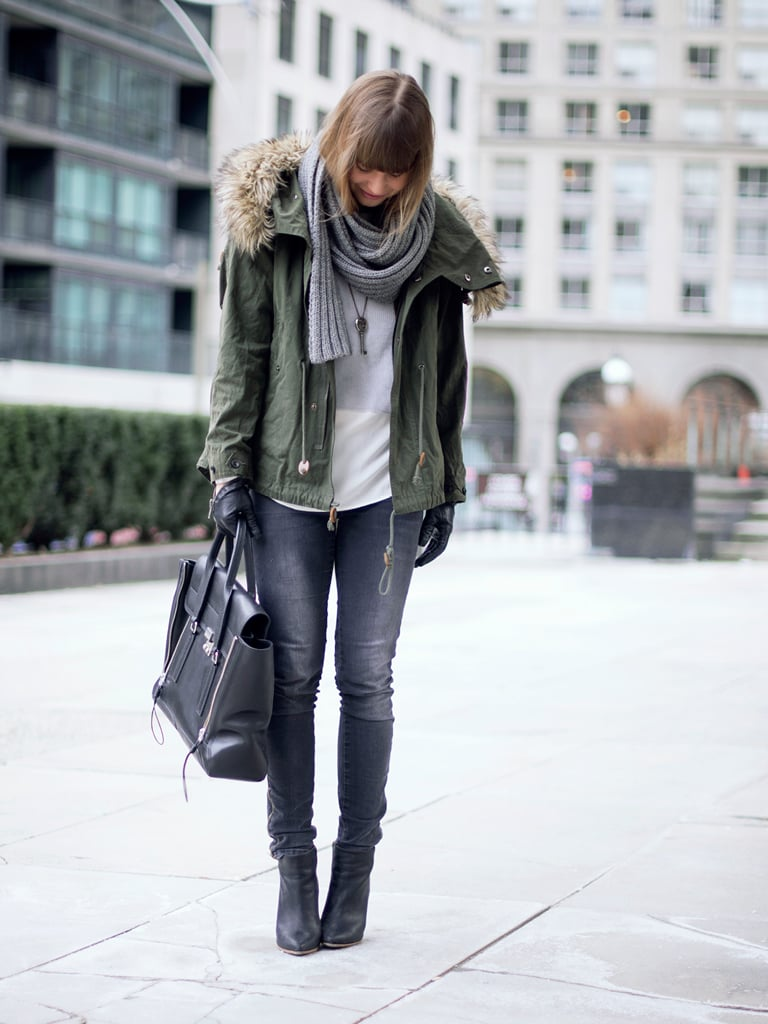 Even the most casual ensembles look infinitely cooler with a fur-trimmed parka and a Lim tote in tow. Source: Lookbook.nu