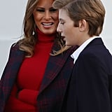 Melania Trump's Here to Spread Some Holiday Cheer With Her Plaid Coat