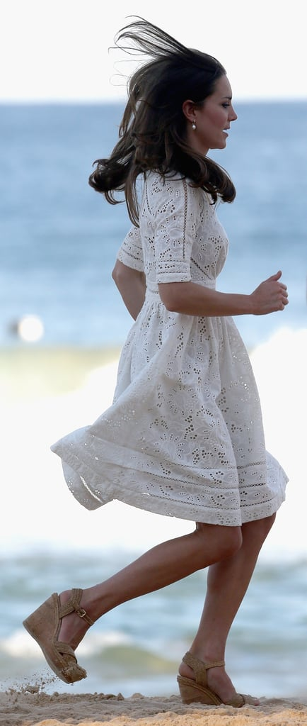 Kate made a run for it in the sand on Sydney's Manley Beach on April 18.