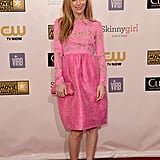 Leslie Mann paired a pink dress with pink heels.