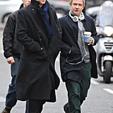 Benedict Cumberbatch and Martin Freeman filmed the fourth season of Sherlock in London on Monday.