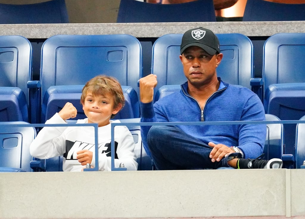 On Monday, Tiger Woods attended the 2019 US Open to cheer on Rafael Nadal, and this time, he wasn't the athlete sweating it out on the green. Tiger and his girlfriend, Erica Herman, watched the intense match versus Croatia's Marin Cilic alongside Tiger's 12-year-old daughter Sam Alexis and 10-year-old son Charlie Axel. Tiger might have been a spectator, but his excited fist-pumping reactions were exactly the same as when he plays, and his son definitely took note. Not only did Charlie pick up on his dad's famous fist pump during the match, but they had all the same facial expressions and even styled their hats the same way while watching. Too cute!  Tiger and his ex Elin Nordegren have two kids together — Sam and Charlie — and they're often seen cheering on their dad when he plays, as they recently did when he won the 2019 Masters Tournament in April. Now, they've joined Tiger in witnessing the greatness that is Rafa Nadal. Check out photos of Tiger and his adorable mini me son Charlie at the 2019 US Open ahead.      Related:                                                                                                           You Will Love This Guide on How Tennis Scoring Works