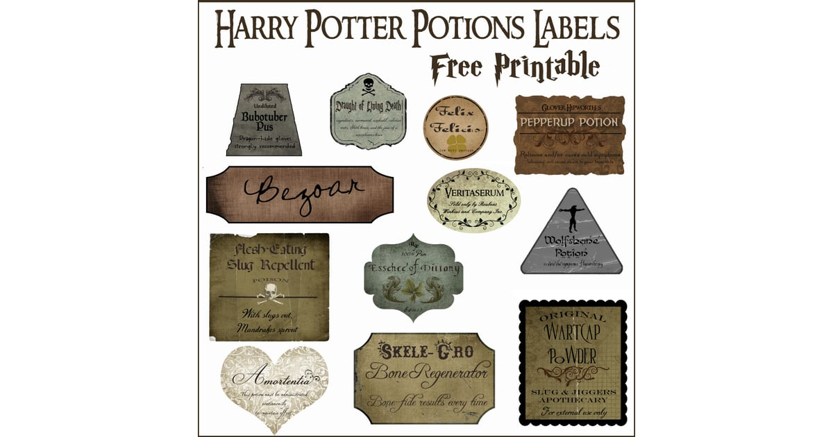 Print Out Potions Labels Harry Potter DIYs POPSUGAR