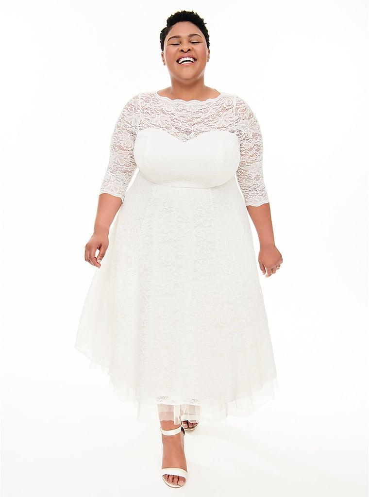 09e7588f43d Torrid Special Occasion White Lace Midi Dress