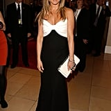 Jennifer Aniston celebrated the 2012 American Cinematheque Tribute to friend Ben Stiller in a black and white Valentino gown.