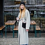 With Light Denim, a Long Grey Coat, and a Beanie