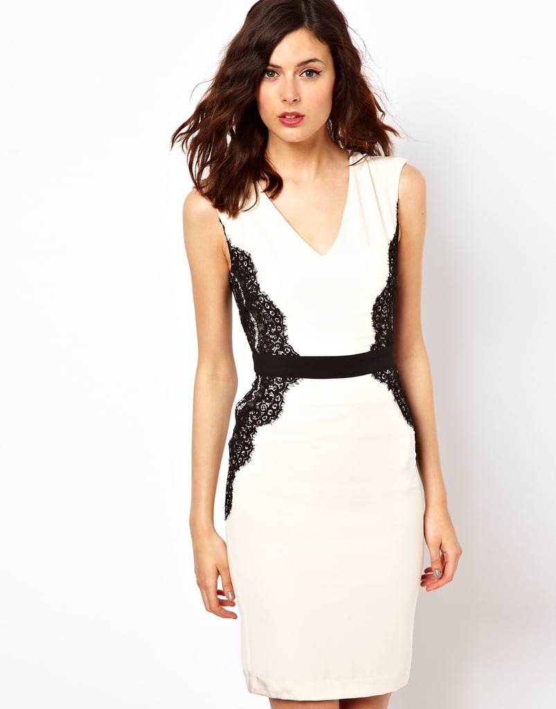 The body-con silhouette of this Warehouse Lace Overlay Pencil Dress ($108) is just the right amount of sexy, and we're loving the slick two-tone contrasts.