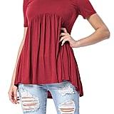 Levaca Pleated Tunic Shirt