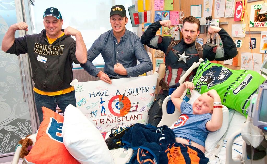 Chris Pratt and Chris Evans at Seattle Children's Hospital