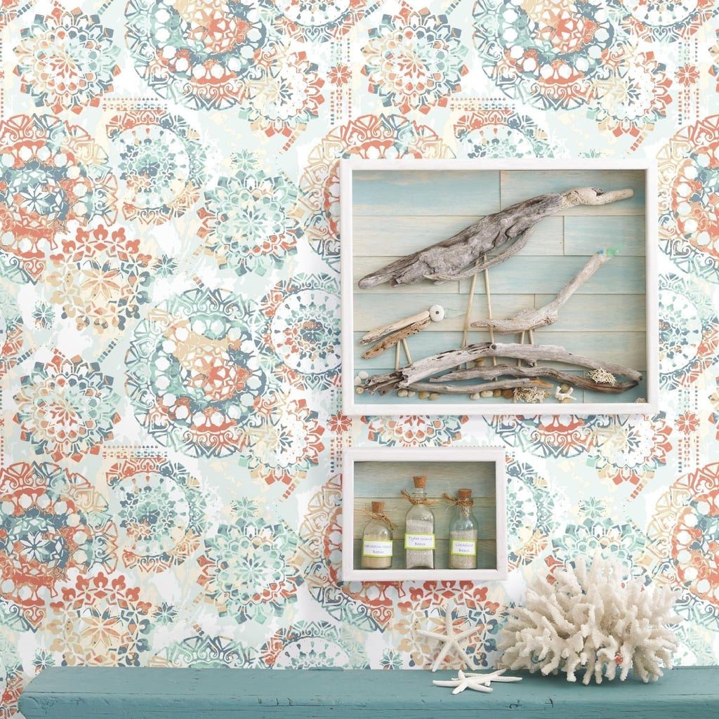RoomMates Bohemian Orange and Blue Wallpaper