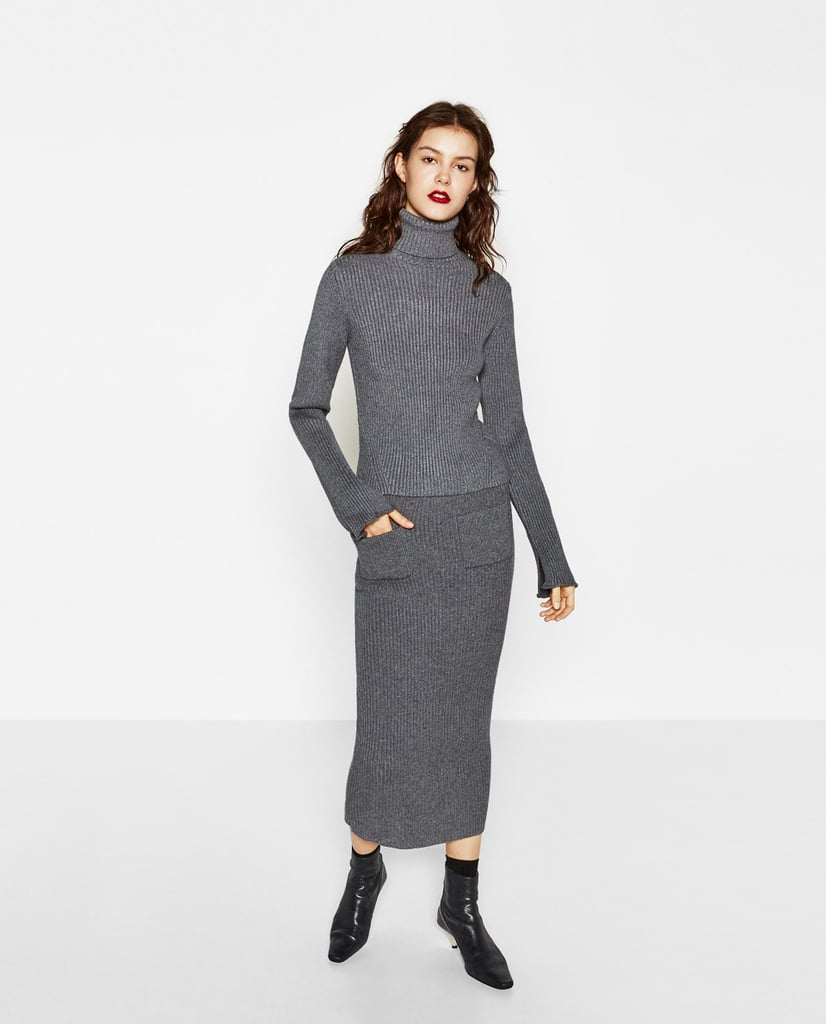 Zara Ribbed Sweater ($40) and Pencil Skirt ($50)
