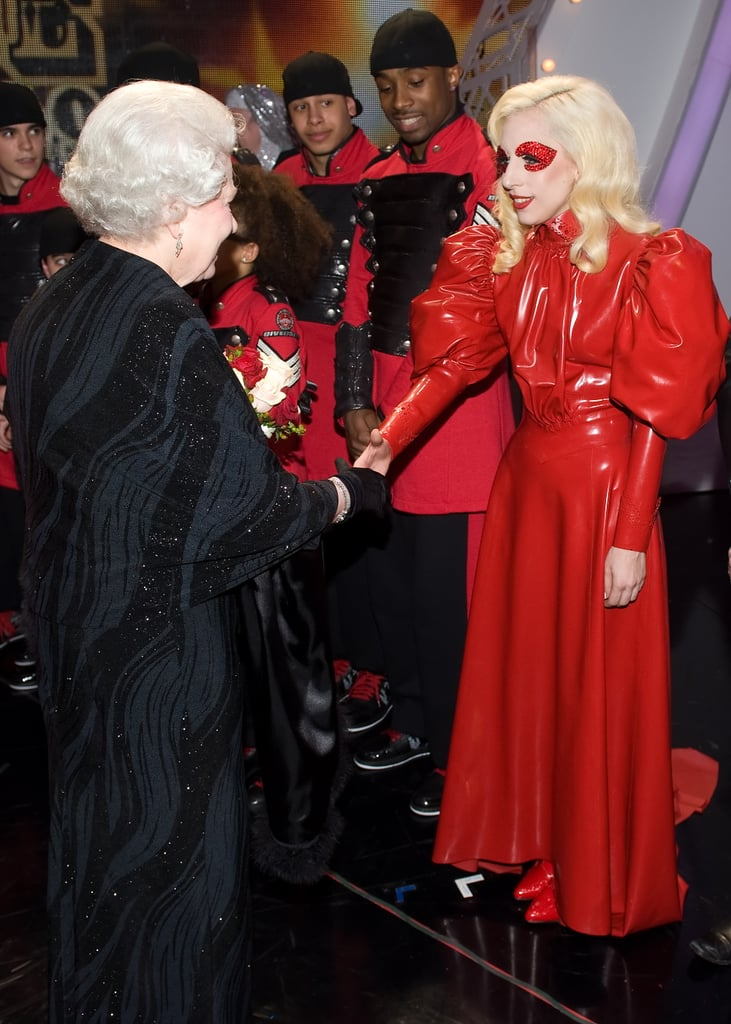 """Finally someone to look up to the queen! Lady Gaga is a reported 5'1"""" but looks to be on the same level as the royal in heels."""