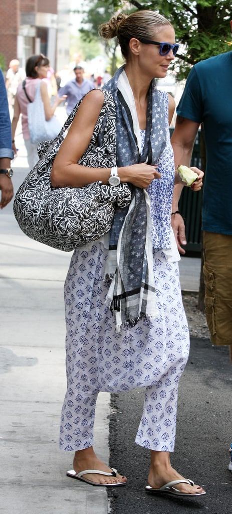 Heidi Klum showed her bohemian side in New York with a mismatch of accessories complementing her look.