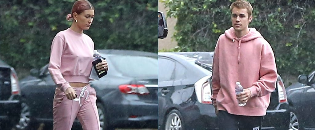 Hailey Baldwin and Justin Bieber Wearing Pink Sweats