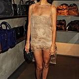 Thandie Newton looked pretty in a barely there nude dress