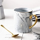 Longpro Marble Ceramic Bone China Coffee Mug with Golden Spoon