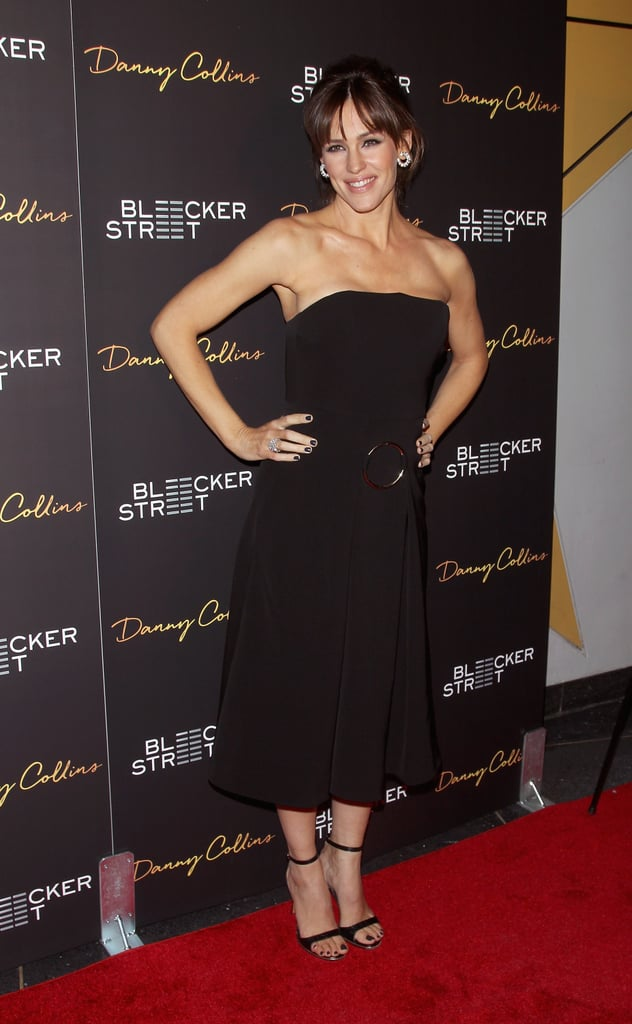 Jennifer Garner has been out and about promoting her latest film, Danny Collins, which also stars Al Pacino, and she's doing it while looking flawless. On Wednesday, the glowing actress wore a black strapless dress for the film's premiere at Stone Rose Lounge in NYC. The mother of three braved the cold when she briefly took off her coat for photos before heading into the venue, where she hung out and chatted with cast members Bobby Cannavale and Giselle Eisenberg. Jennifer was all smiles at the event, a change from her emotional interview on the Today show earlier that day, when she started to tear up as she talked about her mom and sisters. Aside from her new movie, the star also has another reason to celebrate, as her 43rd birthday is coming up, and she said in an interview that she has a fun surprise planned. Keep reading to see Jennifer's stunning red carpet appearance, then watch her play rock, paper, scissors, pie with Jimmy Fallon.