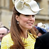 Kate wore a fascinator for the occasion.