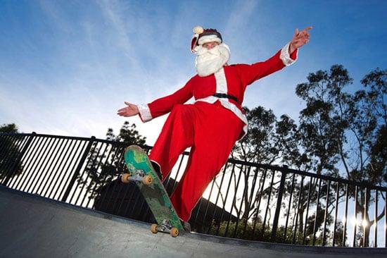 Santa Claus Surfing Golfing And Biking Popsugar Fitness Click Santa Claus Skateboard