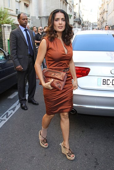 Salma Hayek walks to Balenciaga's show at Paris Fashion Week on Sept. 29.