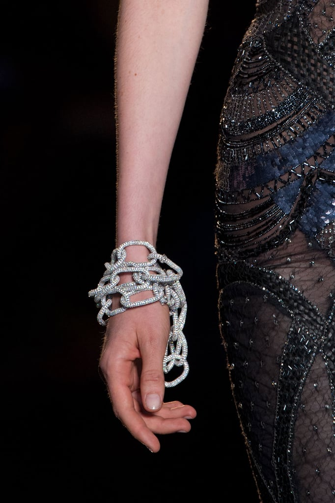 Nude nails were also the look at Versace, where models' fingers were painted in just a shiny, clear top coat.