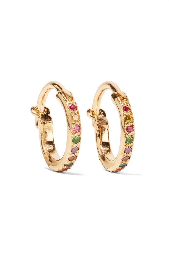 Ileana Makri Mini Rainbow 18K Gold Multistone Earrings