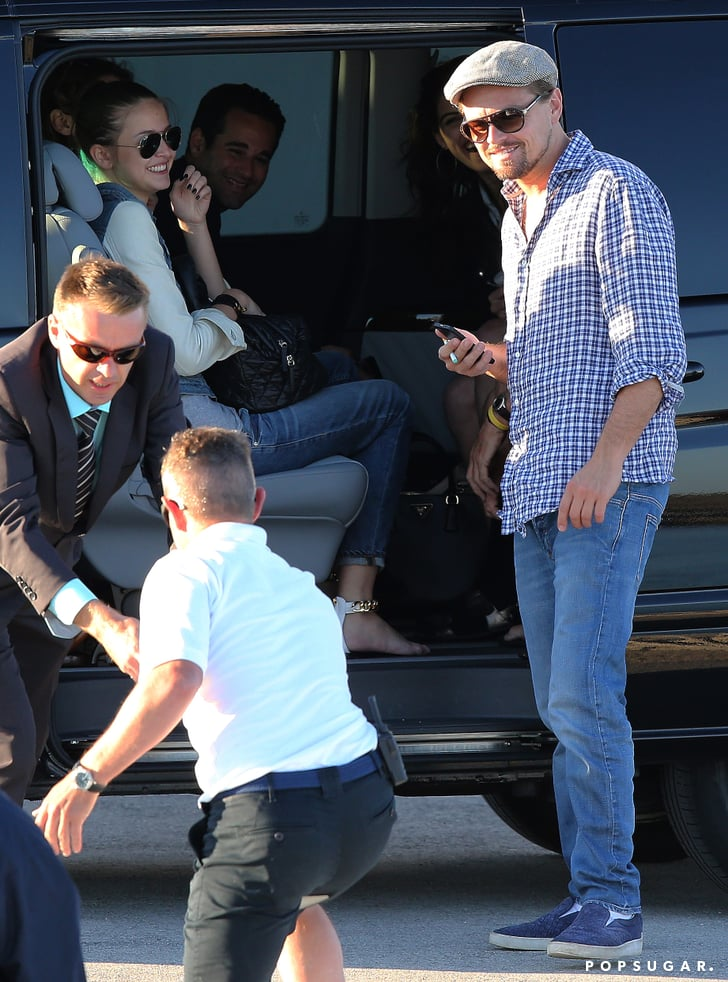 Leonardo DiCaprio joked with his friends.