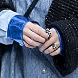 And a studded manicure added a touch of toughness.