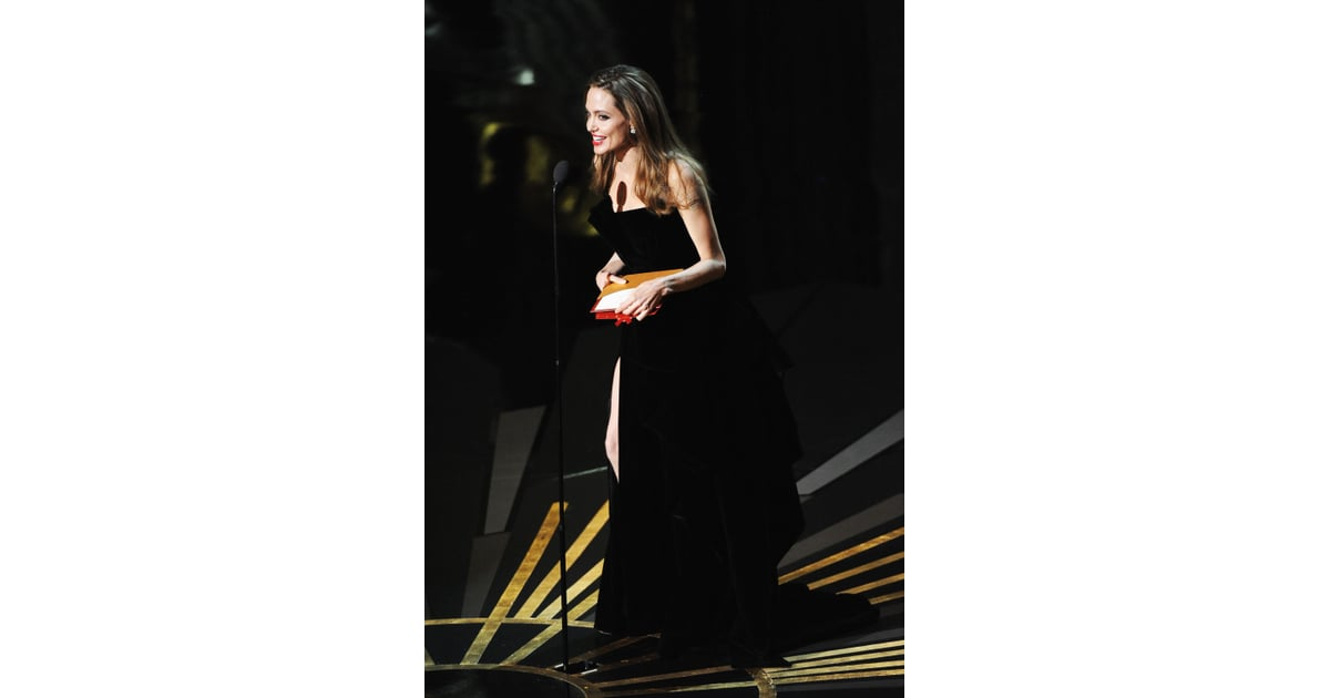 Angelina Jolie In A Black Gown Angelina Jolie On Stage At Oscars