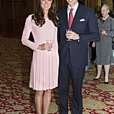 Kate Middleton wore a £1,200 Emilia Wickstead dress to a lunch for the sovereign monarchs at Windsor Castle with Prince William.